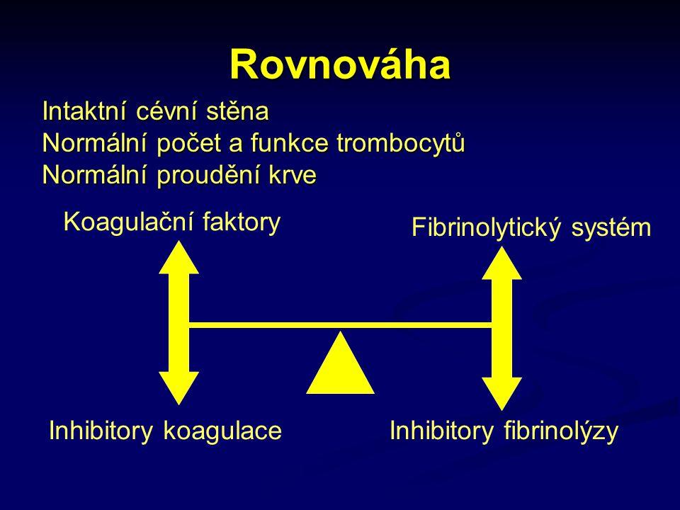 Rovnováha Koagulační faktory Inhibitory koagulace Fibrinolytický systém Inhibitory fibrinolýzy Intaktní cévní stěna Normální počet a funkce trombocytů