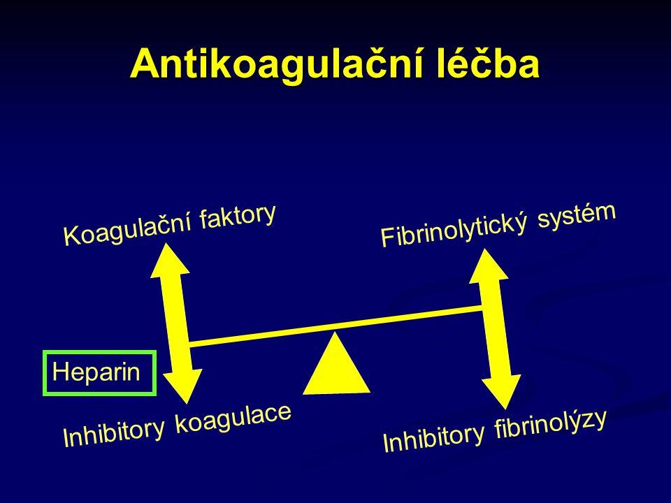 Antikoagulační léčba Koagulační faktory Inhibitory koagulace Inhibitory fibrinolýzy Heparin Fibrinolytický systém