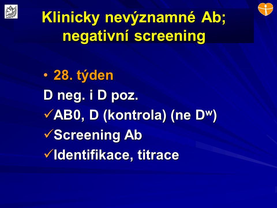 Klinicky nevýznamné Ab; negativní screening 28. týden28. týden D neg. i D poz. AB0, D (kontrola) (ne D w ) AB0, D (kontrola) (ne D w ) Screening Ab Sc
