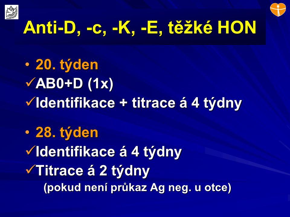 Anti-D, -c, -K, -E, těžké HON 20. týden20. týden AB0+D (1x) AB0+D (1x) Identifikace + titrace á 4 týdny Identifikace + titrace á 4 týdny 28. týden28.