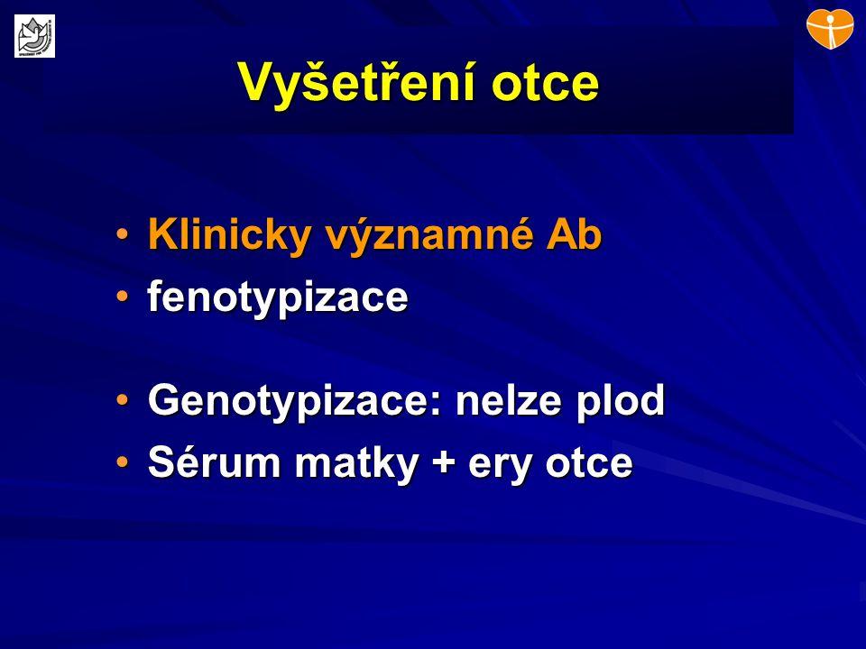 Vyšetření otce Klinicky významné AbKlinicky významné Ab fenotypizacefenotypizace Genotypizace: nelze plodGenotypizace: nelze plod Sérum matky + ery ot