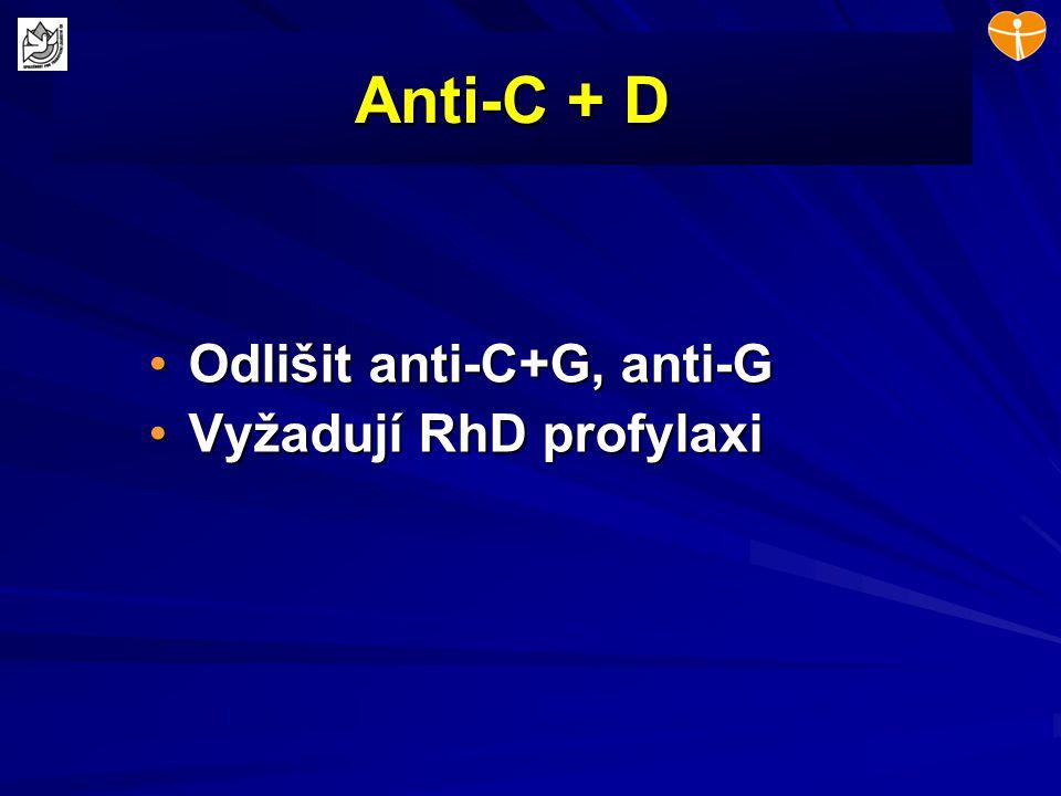 Anti-C + D Odlišit anti-C+G, anti-GOdlišit anti-C+G, anti-G Vyžadují RhD profylaxiVyžadují RhD profylaxi