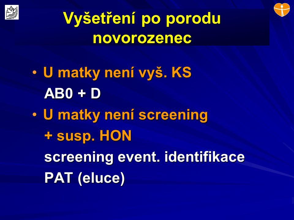 Vyšetření po porodu novorozenec U matky není vyš. KSU matky není vyš. KS AB0 + D AB0 + D U matky není screeningU matky není screening + susp. HON + su