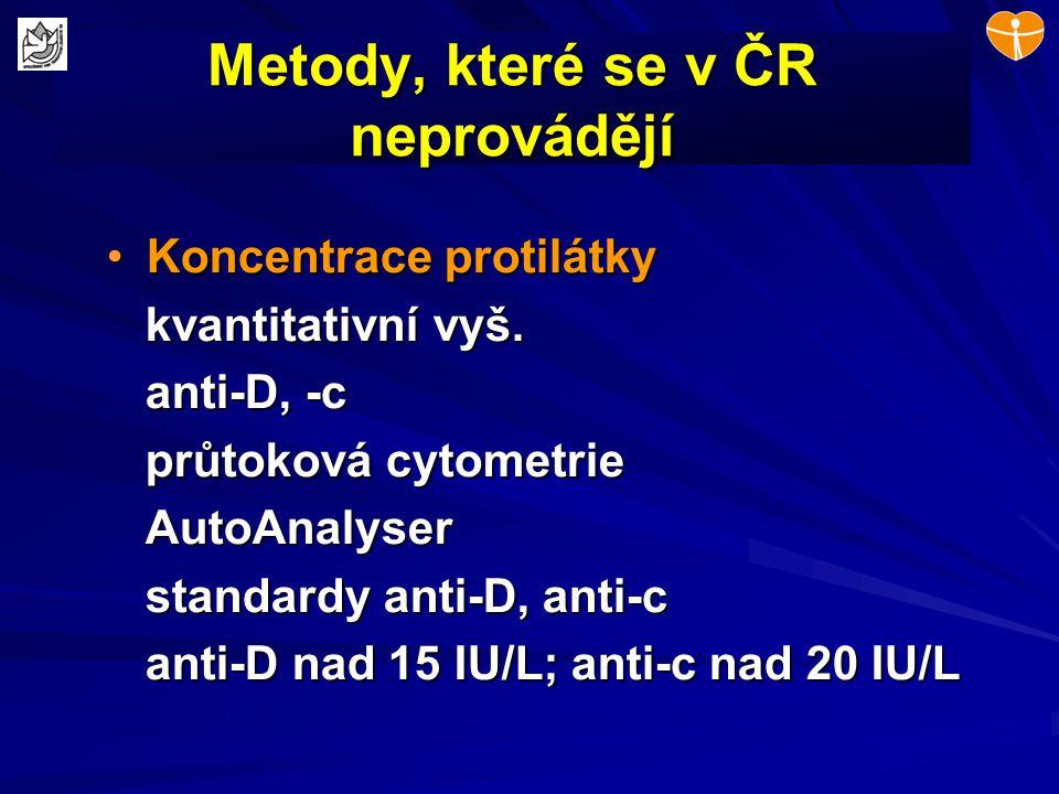Metody, které se v ČR neprovádějí Koncentrace protilátkyKoncentrace protilátky kvantitativní vyš. kvantitativní vyš. anti-D, -c anti-D, -c průtoková c