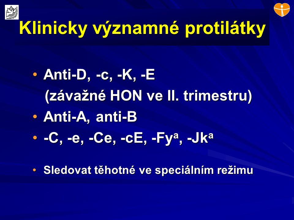 Klinicky významné protilátky Anti-D, -c, -K, -EAnti-D, -c, -K, -E (závažné HON ve II. trimestru) (závažné HON ve II. trimestru) Anti-A, anti-BAnti-A,