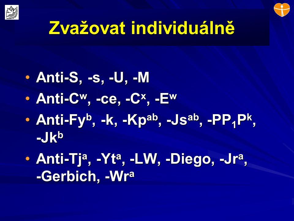 Zvažovat individuálně Anti-S, -s, -U, -MAnti-S, -s, -U, -M Anti-C w, -ce, -C x, -E wAnti-C w, -ce, -C x, -E w Anti-Fy b, -k, -Kp ab, -Js ab, -PP 1 P k