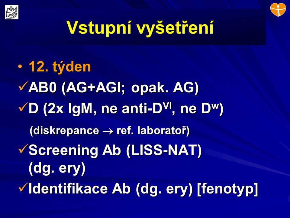 Vstupní vyšetření 12. týden12. týden AB0 (AG+AGI; opak. AG) AB0 (AG+AGI; opak. AG) D (2x IgM, ne anti-D VI, ne D w ) D (2x IgM, ne anti-D VI, ne D w )