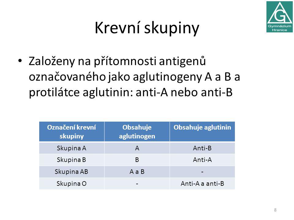 Krevní skupiny Založeny na přítomnosti antigenů označovaného jako aglutinogeny A a B a protilátce aglutinin: anti-A nebo anti-B 8 Označení krevní skup