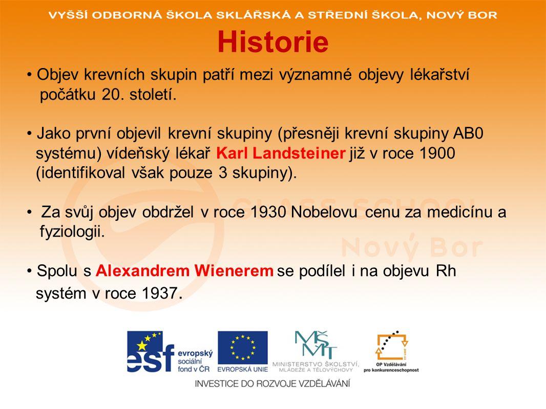 Historie Objev krevních skupin patří mezi významné objevy lékařství počátku 20.
