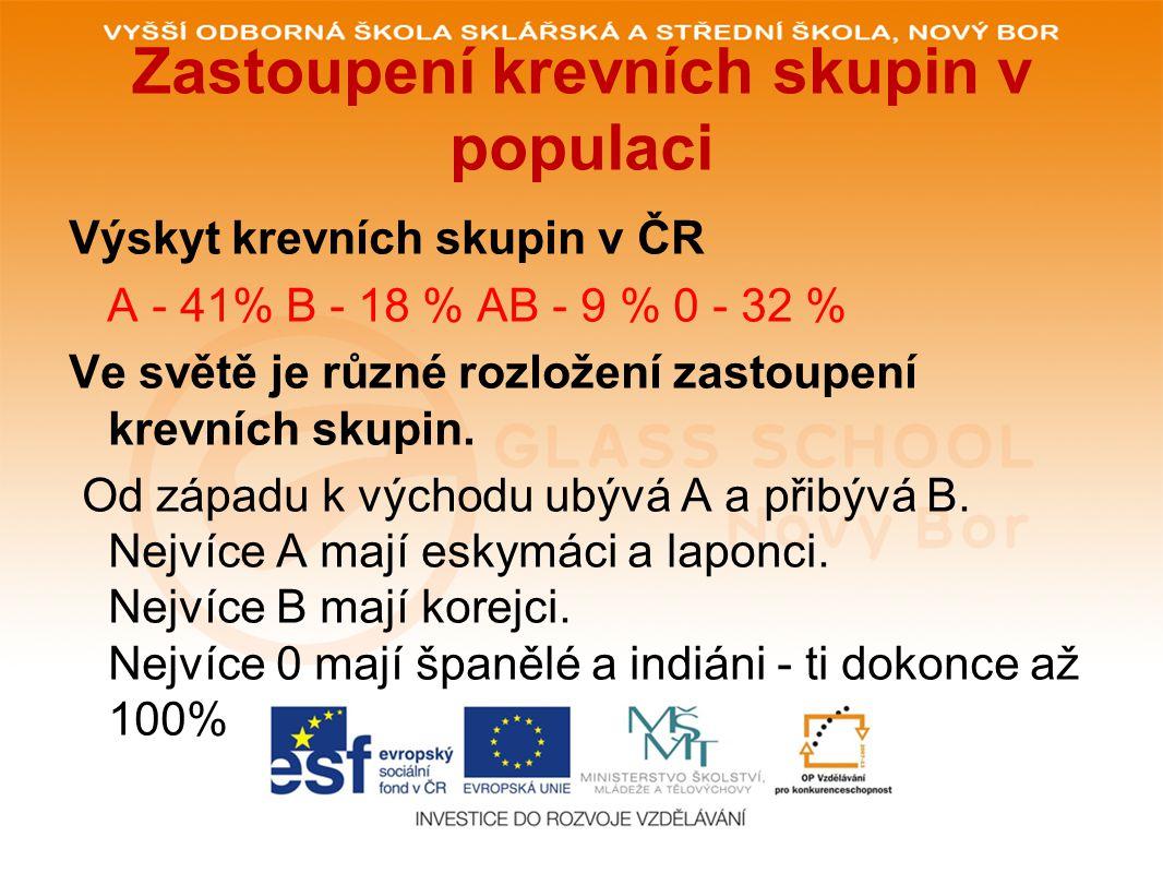 Zastoupení krevních skupin v populaci Výskyt krevních skupin v ČR A - 41% B - 18 % AB - 9 % 0 - 32 % Ve světě je různé rozložení zastoupení krevních skupin.