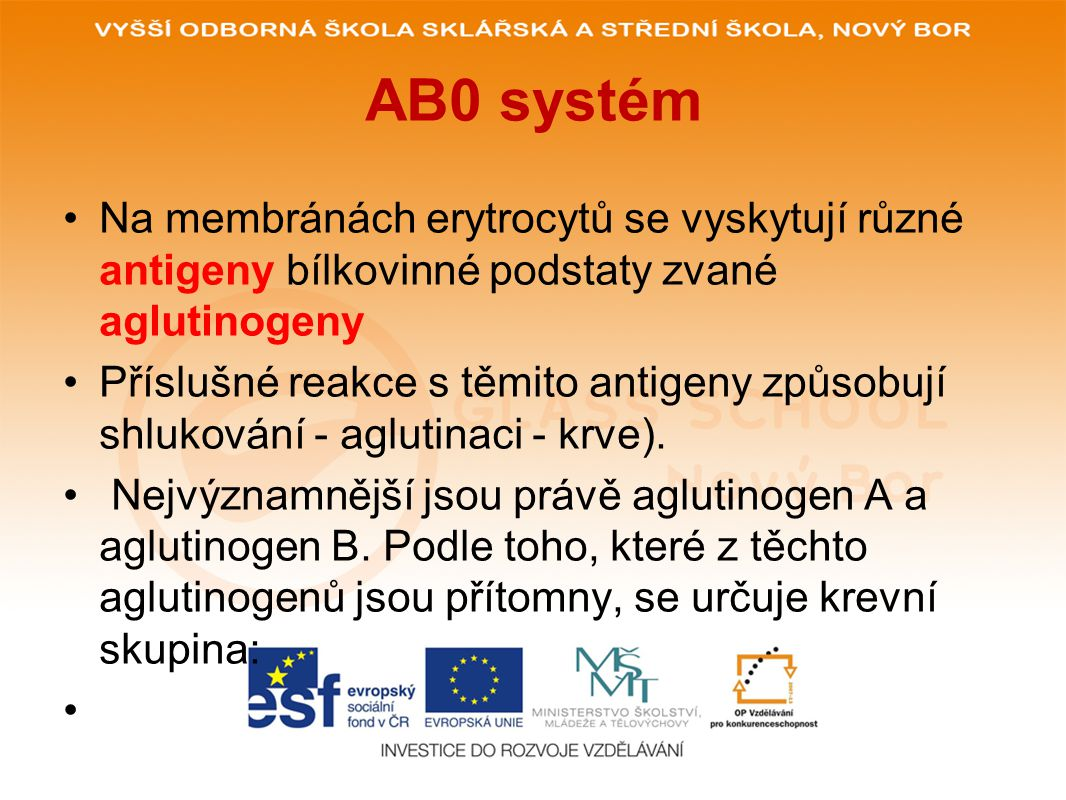 AB0 systém Na membránách erytrocytů se vyskytují různé antigeny bílkovinné podstaty zvané aglutinogeny Příslušné reakce s těmito antigeny způsobují shlukování - aglutinaci - krve).