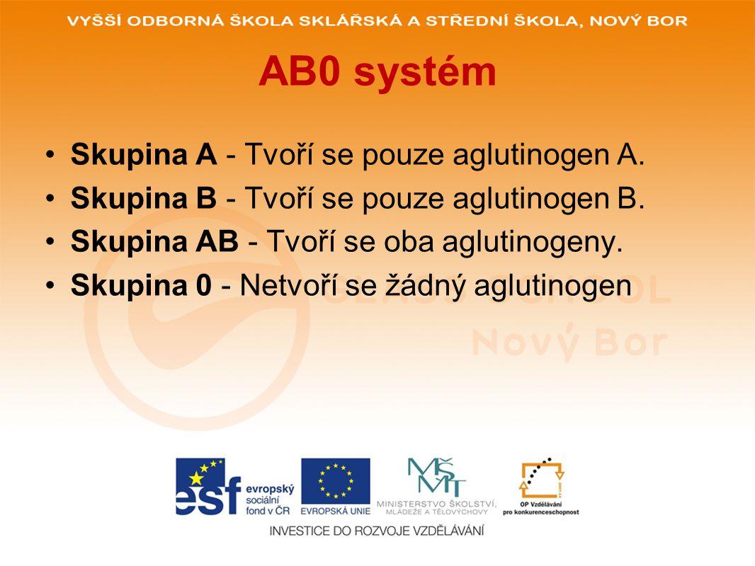 AB0 systém V krevní plazmě jsou naopak obsaženy bílkovinné protilátky zvané aglutininy (anti-A, anti-B).