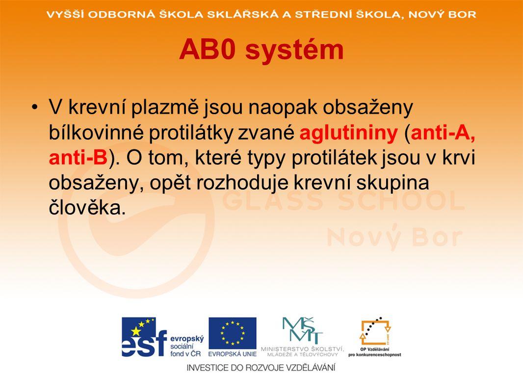 AB0 systém Skupina A - Tvoří se pouze aglutinin anti-B.