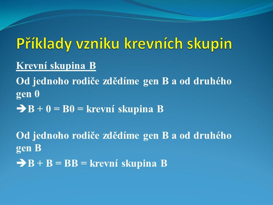Krevní skupina B Od jednoho rodiče zdědíme gen B a od druhého gen 0  B + 0 = B0 = krevní skupina B Od jednoho rodiče zdědíme gen B a od druhého gen B