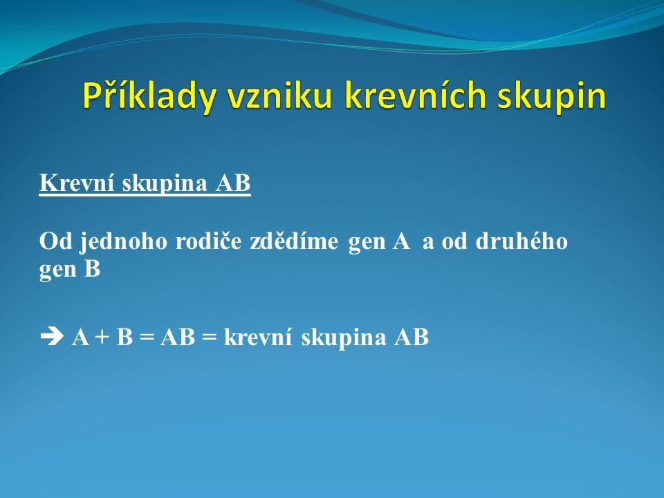 Krevní skupina AB Od jednoho rodiče zdědíme gen A a od druhého gen B  A + B = AB = krevní skupina AB