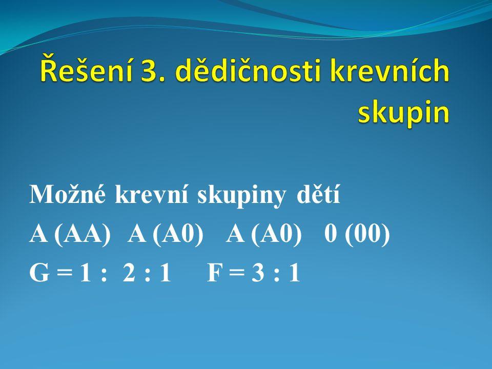 Možné krevní skupiny dětí A (AA)A (A0)A (A0)0 (00) G = 1 : 2 : 1 F = 3 : 1
