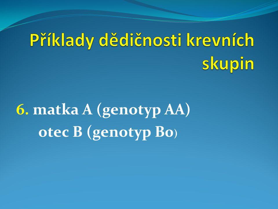 6. matka A (genotyp AA) otec B (genotyp B0 )