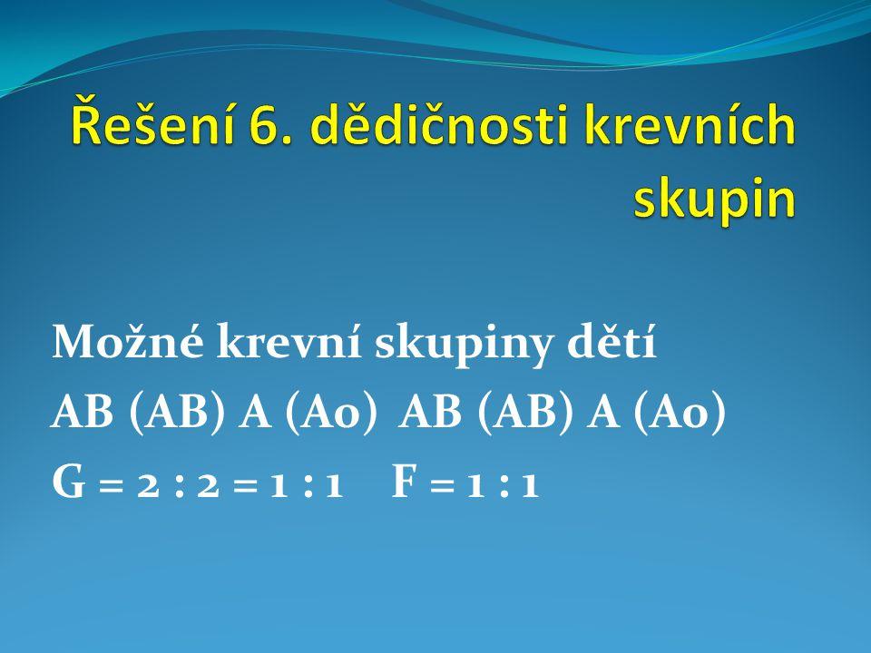 Možné krevní skupiny dětíAB (AB) A (A0) G = 2 : 2 = 1 : 1 F = 1 : 1