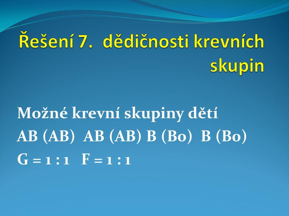 Možné krevní skupiny dětí AB (AB) AB (AB) B (B0) B (B0) G = 1 : 1 F = 1 : 1