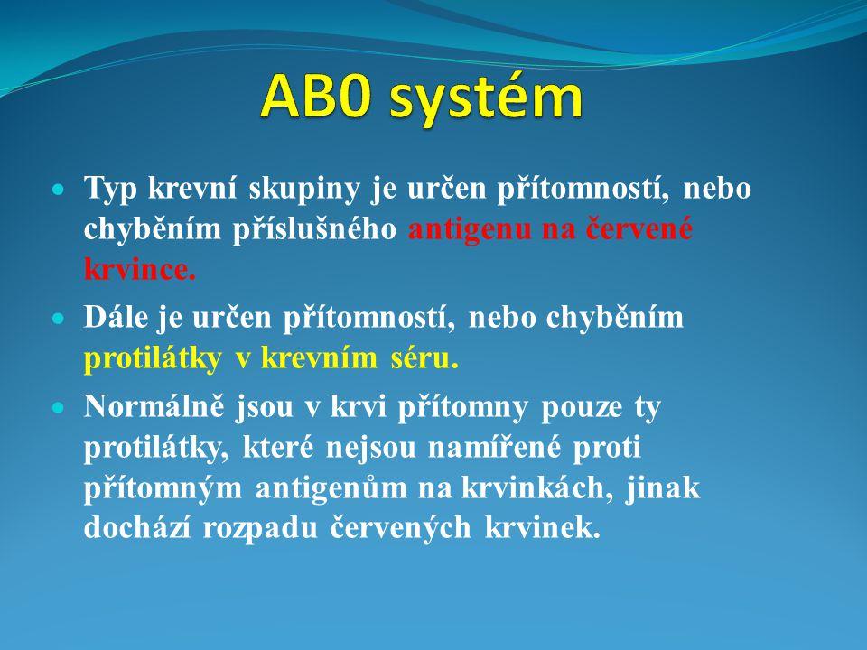 a) pacient s krevní skupinou A nesmí dostat krev skupiny B, protože pacientova krev obsahuje protilátky anti-B, které by způsobily rozpad krvinek dárcovy krve b) epacient s krevní skupinou B nesmí dostat krev skupiny B, protože pacientova krev obsahuje protilátky anti-A, které by způsobily rozpad krvinek dárcovy krve c) Lidé s krevní skupinou AB, jsou univerzální příjemci všech krevních skupin, krev neobsahuje žádné protilátky d) Lidé s krevní skupinou 0, jsou univerzální dárci pro všechny krevní skupiny, protože jejich krvinky neobsahuj žádné antigeny.