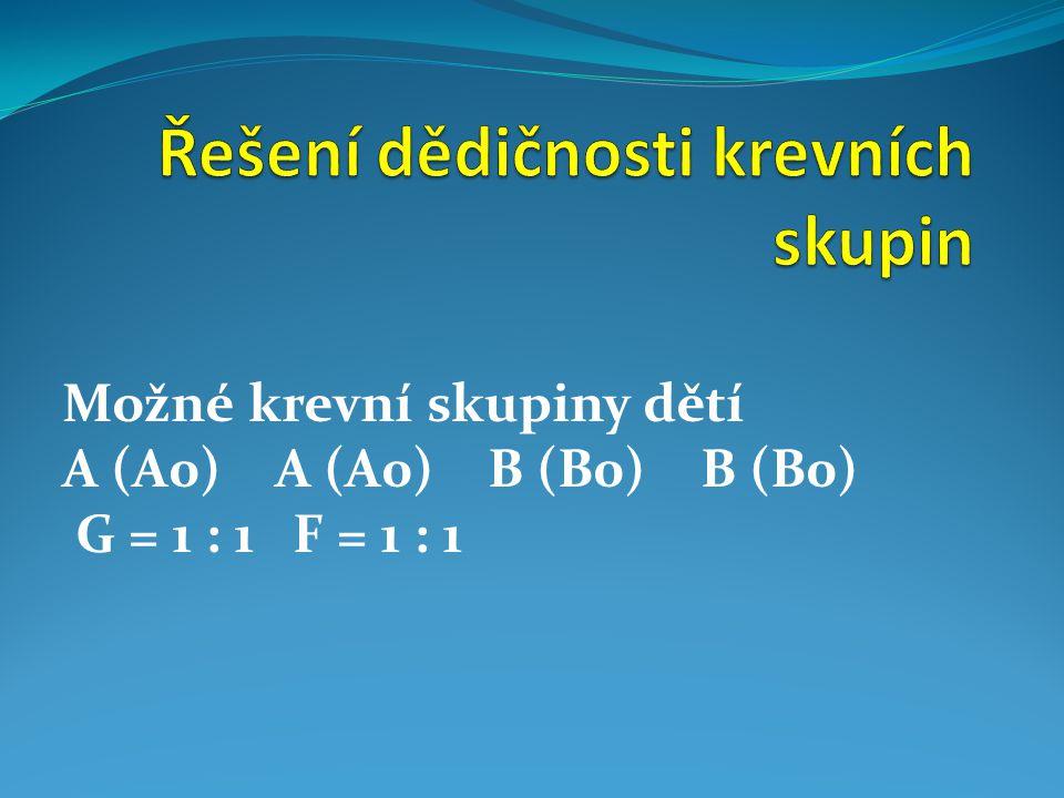 Možné krevní skupiny dětí A (A0)A (A0)B (B0)B (B0) G = 1 : 1 F = 1 : 1