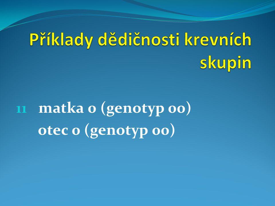 11 matka 0 (genotyp 00) otec 0 (genotyp 00)