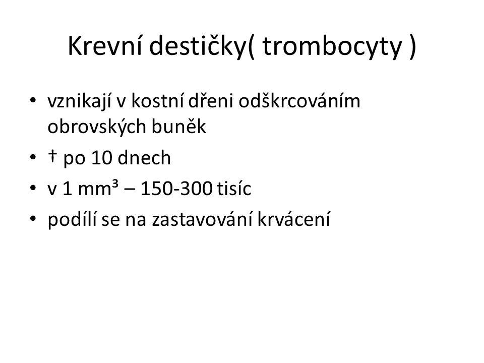 Zástava krvácení 1) trombocyty se shlukují a rozpadají, přitom dochází k procesům, jejichž výsledkem je 2)přeměna rozpustné bílkoviny fibrinogenu na nerozpustný fibrin, ten vytváří 3) síť vláken, v ní se zachytí krvinky a vytvoří se krevní koláč (smrskne se a vytlačí krevní sérum)
