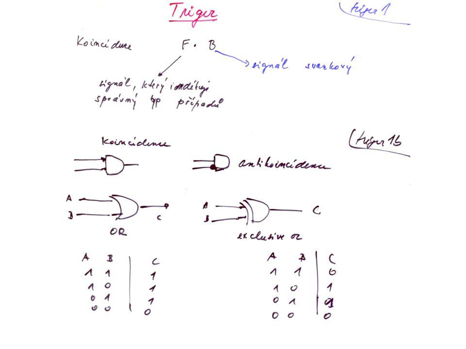 Koincidence: vstupní a výstupní signály jsou digitální signály výstupní signál má délku odpovídající překrytí vstupních signálů