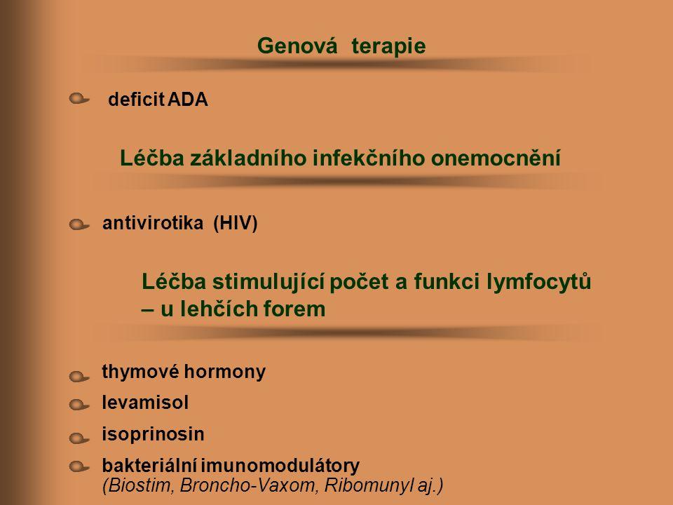 thymové hormony levamisol isoprinosin bakteriální imunomodulátory (Biostim, Broncho-Vaxom, Ribomunyl aj.) Léčba základního infekčního onemocnění Genov