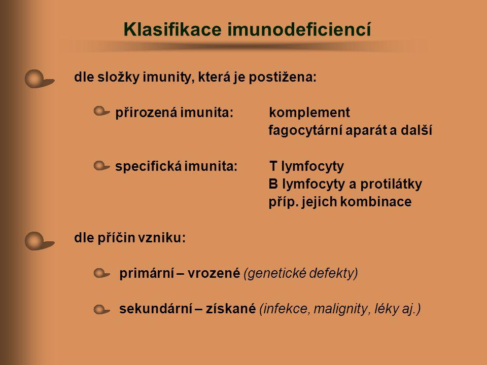 Klasifikace imunodeficiencí dle složky imunity, která je postižena: přirozená imunita:komplement fagocytární aparát a další specifická imunita:T lymfo