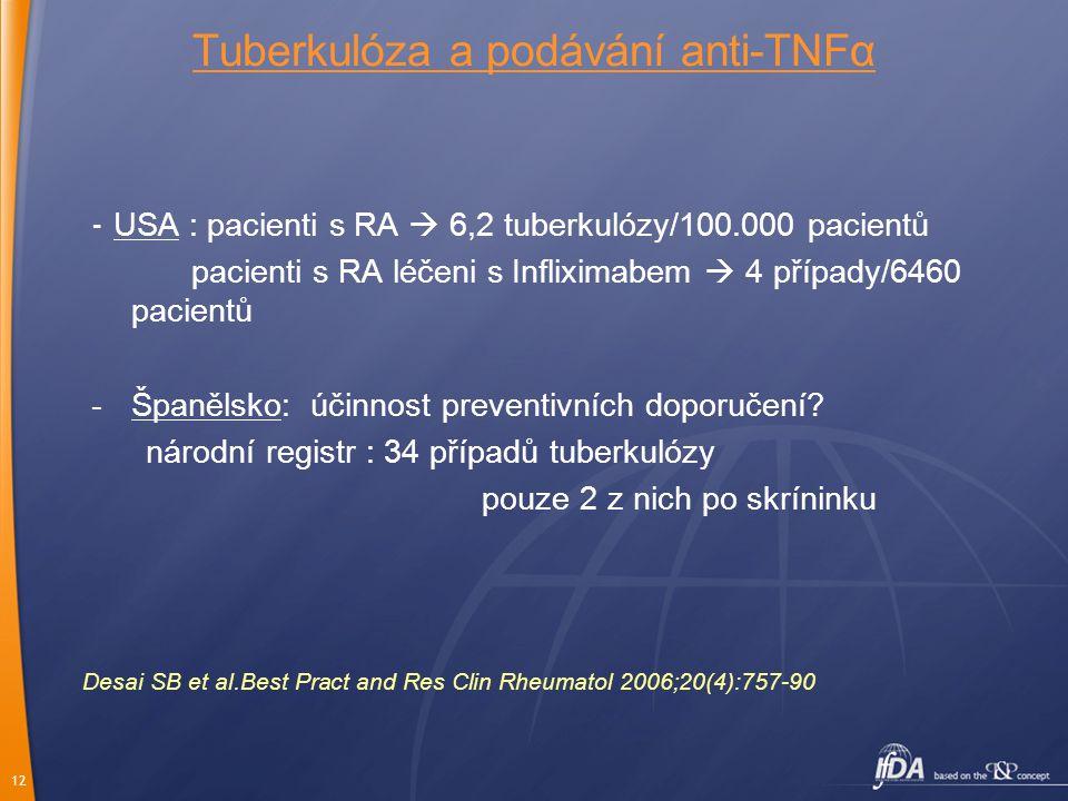 12 Tuberkulóza a podávání anti-TNFα - USA : pacienti s RA  6,2 tuberkulózy/100.000 pacientů pacienti s RA léčeni s Infliximabem  4 případy/6460 pacientů -Španělsko: účinnost preventivních doporučení.