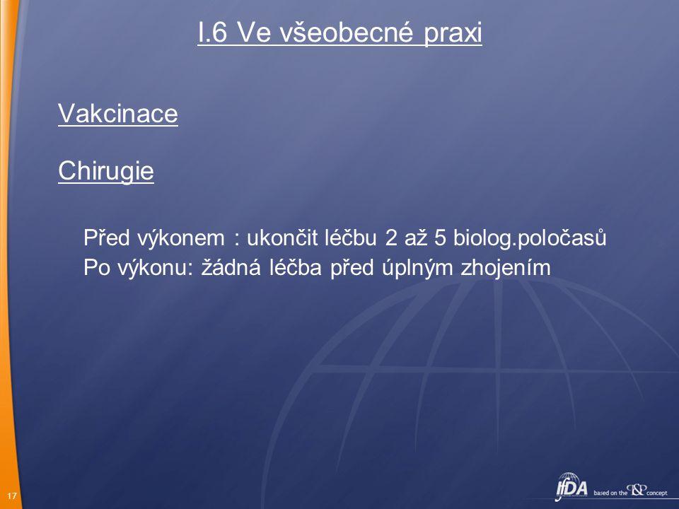 17 I.6 Ve všeobecné praxi Vakcinace Chirugie Před výkonem : ukončit léčbu 2 až 5 biolog.poločasů Po výkonu: žádná léčba před úplným zhojením