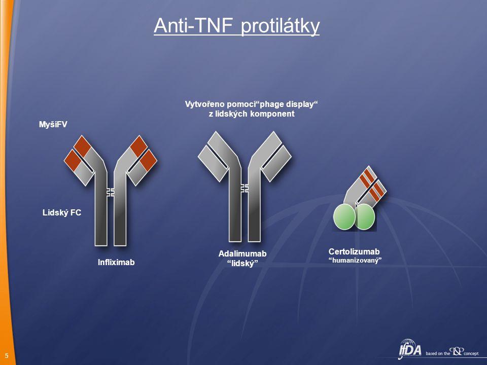 5 Anti-TNF protilátky Infliximab Adalimumab lidský Lidský FC MyšíFV Vytvořeno pomocí phage display z lidských komponent Certolizumab humanizovaný