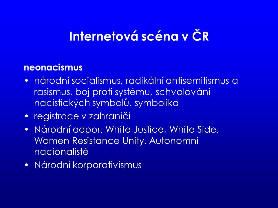 Internetová scéna v ČR neonacismus národní socialismus, radikální antisemitismus a rasismus, boj proti systému, schvalování nacistických symbolů, symbolika registrace v zahraničí Národní odpor, White Justice, White Side, Women Resistance Unity, Autonomní nacionalisté Národní korporativismus