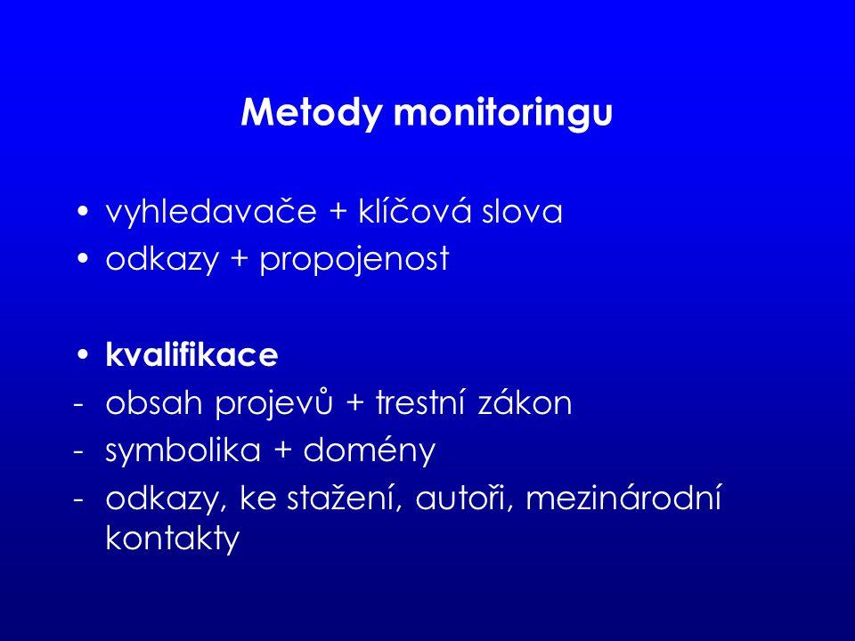 Metody monitoringu vyhledavače + klíčová slova odkazy + propojenost kvalifikace -obsah projevů + trestní zákon -symbolika + domény -odkazy, ke stažení, autoři, mezinárodní kontakty