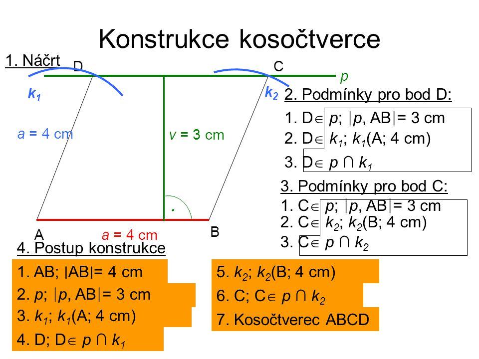 Konstrukce kosočtverce 1. Náčrt a = 4 cm A B CD p k2k2 k1k1 2. Podmínky pro bod D: 2. D  k 1 ; k 1 (A; 4 cm) 1. D  p; ∣ p, AB ∣ = 3 cm 3. D  p ∩ k