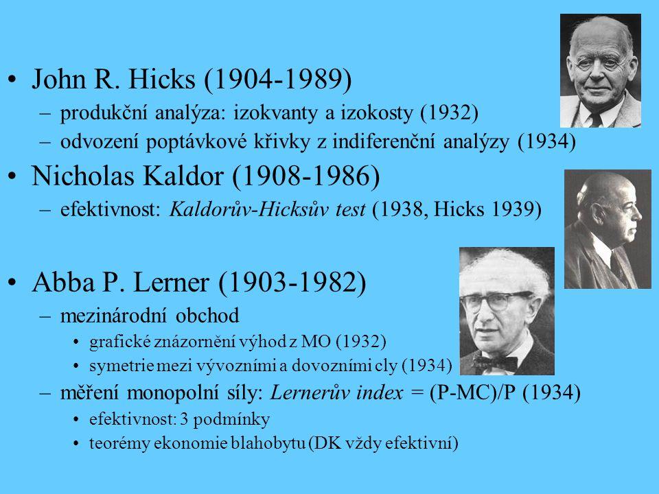 John R. Hicks (1904-1989) –produkční analýza: izokvanty a izokosty (1932) –odvození poptávkové křivky z indiferenční analýzy (1934) Nicholas Kaldor (1