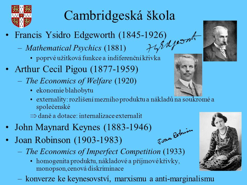 Cambridgeská škola Francis Ysidro Edgeworth (1845-1926) –Mathematical Psychics (1881) poprvé užitková funkce a indiferenční křivka Arthur Cecil Pigou