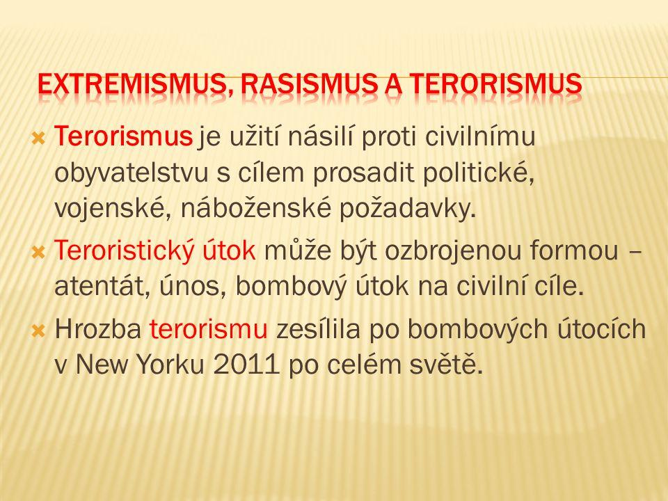 Terorismus je užití násilí proti civilnímu obyvatelstvu s cílem prosadit politické, vojenské, náboženské požadavky.  Teroristický útok může být ozb