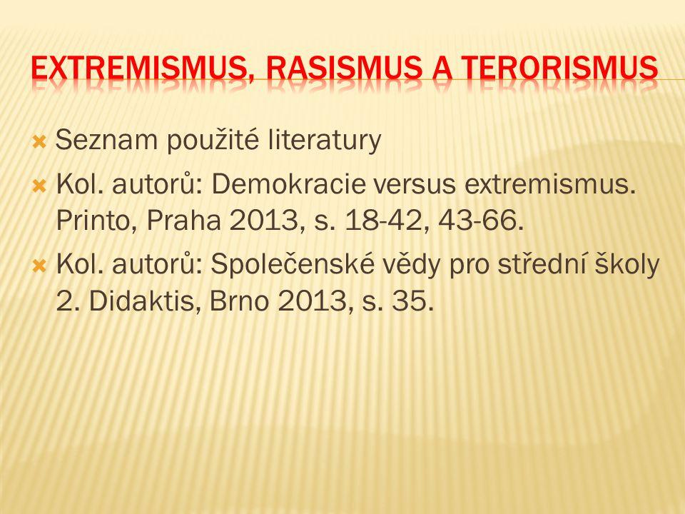  Seznam použité literatury  Kol. autorů: Demokracie versus extremismus. Printo, Praha 2013, s. 18-42, 43-66.  Kol. autorů: Společenské vědy pro stř