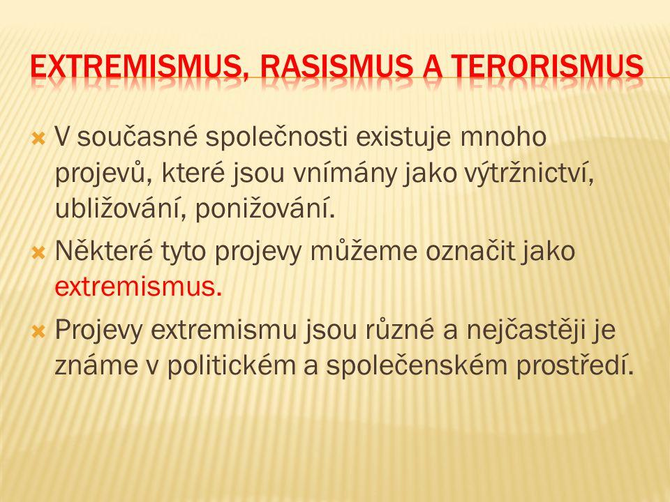  Extremista je označení pro člověka, který zastává takové politické názory, ideje, jež nejsou ve společnosti přijatelné.