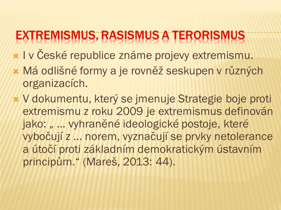  I v České republice známe projevy extremismu.  Má odlišné formy a je rovněž seskupen v různých organizacích.  V dokumentu, který se jmenuje Strate