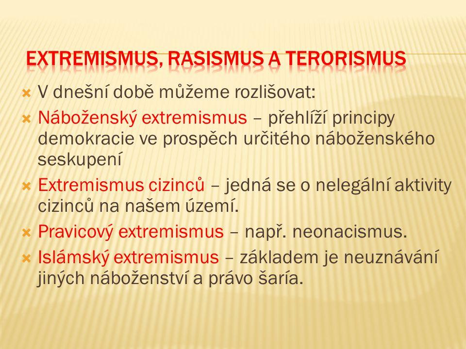  V dnešní době můžeme rozlišovat:  Náboženský extremismus – přehlíží principy demokracie ve prospěch určitého náboženského seskupení  Extremismus c