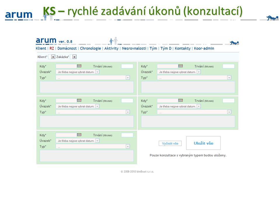 KS – rychlé zadávání úkonů (konzultací)