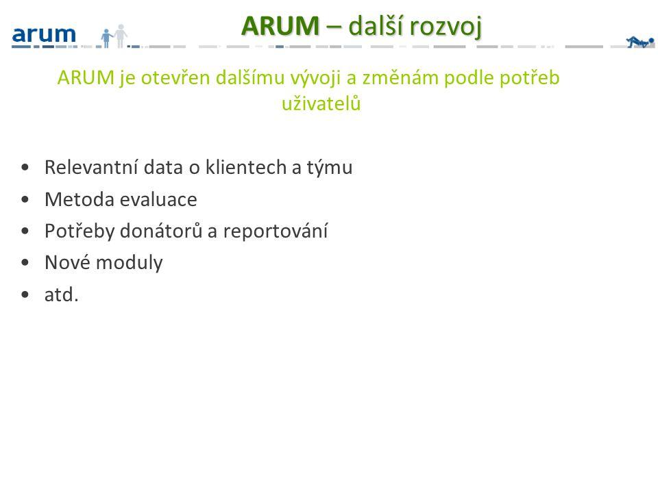 ARUM – další rozvoj ARUM je otevřen dalšímu vývoji a změnám podle potřeb uživatelů Relevantní data o klientech a týmu Metoda evaluace Potřeby donátorů a reportování Nové moduly atd.