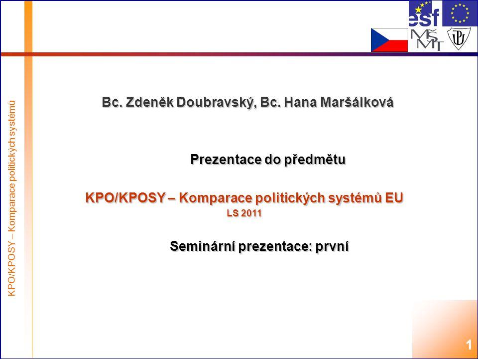 Highest academic title and first + last name of teacher, 2008 KPO/KPOSY – Komparace politických systémů 1 Bc.