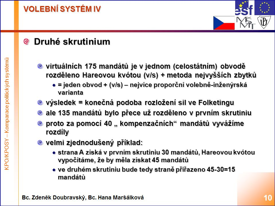 Highest academic title and first + last name of teacher, 2008 VOLEBNÍ SYSTÉM IV Druhé skrutinium virtuálních 175 mandátů je v jednom (celostátním) obv