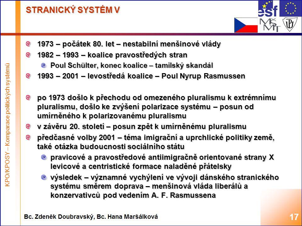 Highest academic title and first + last name of teacher, 2008 STRANICKÝ SYSTÉM V 1973 – počátek 80.