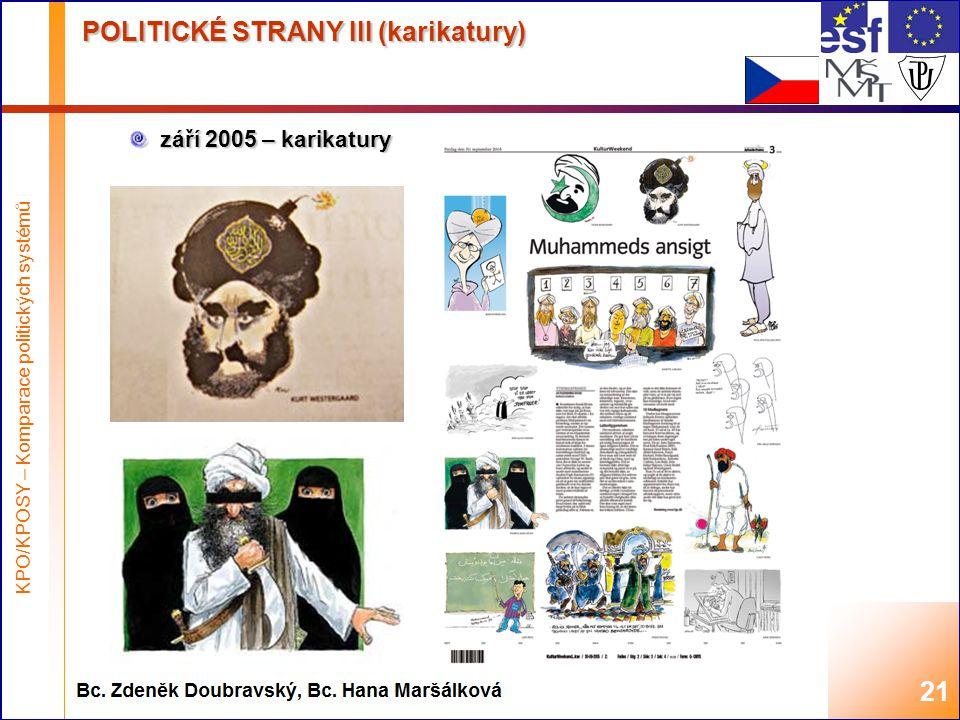 Highest academic title and first + last name of teacher, 2008 POLITICKÉ STRANY III (karikatury) září 2005 – karikatury 21 KPO/KPOSY – Komparace politických systémů
