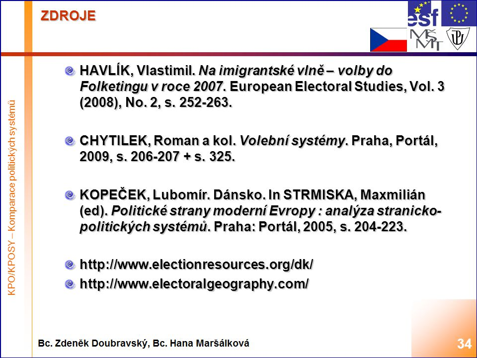 Highest academic title and first + last name of teacher, 2008 ZDROJE HAVLÍK, Vlastimil. Na imigrantské vlně – volby do Folketingu v roce 2007. Europea